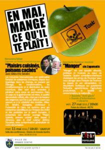 """Rencontre/Débat avec GE Séralini à l'Université Populaire de la Grande-Synthe sur """"Plaisirs cuisinés, poisons cachés"""" – mercredi 11 mai 2016"""