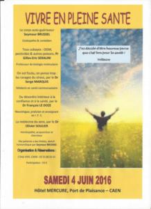 """Journée """"SANTE"""" à Caen avec des spécialistes autour du thème """"Vivre en pleine santé"""" samedi 4 juin 2016"""
