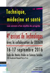 """Assises 2016 """"Technique, médecine et santé"""" – 16-17 septembre 2016 – Paris 6 ème"""