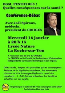 OGM, PESTICIDES : Quelles conséquences sur la santé ? par Joël Spiroux de Vendômois le 16 janvier 2019 à la Roche-sur-Yon
