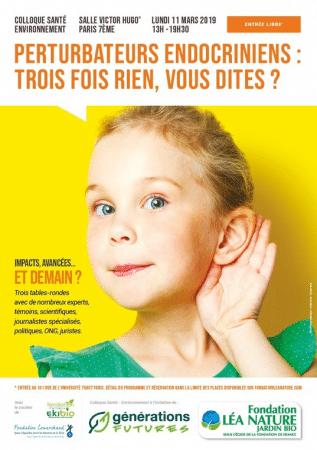 Collloque santé environnement : Perturbateurs endocriniens à Paris le 11 mars 2019