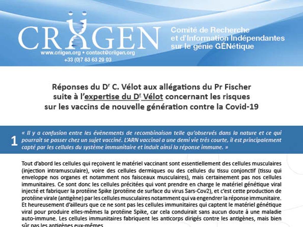 Rapport d'expertise sur les vaccins Covid-19 : Les réponses du Dr. VÉLOT au Pr. FISCHER
