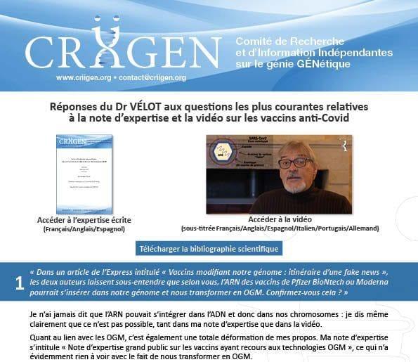 Expertise et Vidéo vaccins Covid-19 : les réponses et approfondissements du Dr. VÉLOT à vos questions