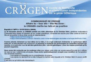 COMMUNIQUÉ DE PRESSE : Affaire du « faux site » Vite Ma Dose